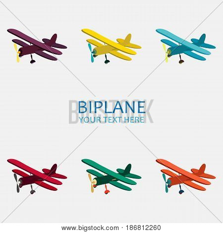 Vector illustration of retro biplane in color monochrome