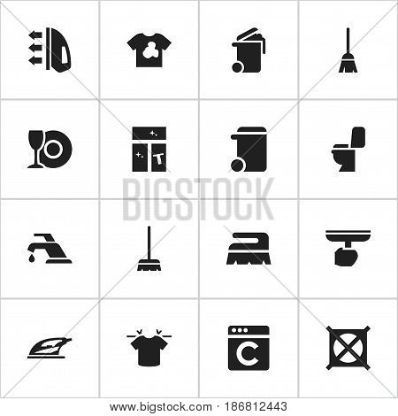 Set Of 16 Editable Hygiene Icons. Includes Symbols Such As Container, No Laundry, Appliance And More. Can Be Used For Web, Mobile, UI And Infographic Design.