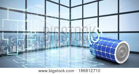 High angle view of 3d solar battery against room with large window showing city
