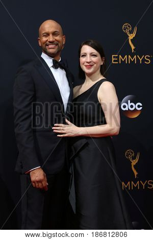LOS ANGELES - SEP 18:  Keegan-Michael Key, Elisa Pugliese at the 2016 Primetime Emmy Awards - Arrivals at the Microsoft Theater on September 18, 2016 in Los Angeles, CA
