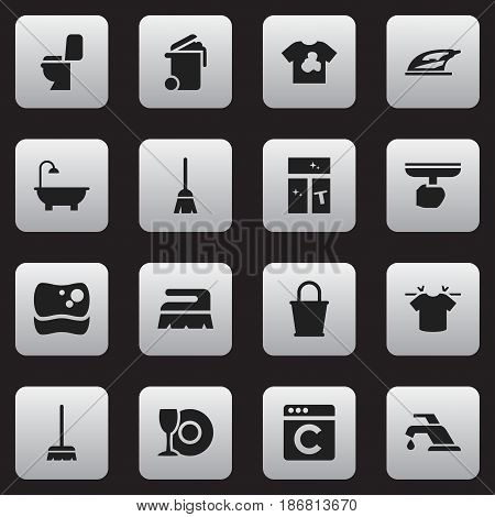 Set Of 16 Editable Cleaning Icons. Includes Symbols Such As Clean T-Shirt, Washing Glass, Unclean Blouse And More. Can Be Used For Web, Mobile, UI And Infographic Design.