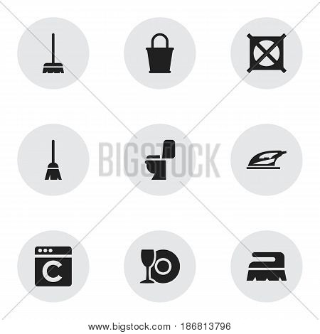 Set Of 9 Editable Cleaning Icons. Includes Symbols Such As Laundress, Sweep, Plate And More. Can Be Used For Web, Mobile, UI And Infographic Design.