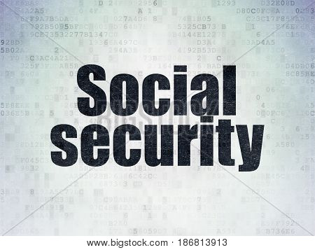 Security concept: Painted black word Social Security on Digital Data Paper background