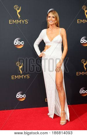 LOS ANGELES - SEP 18:  Heidi Klum at the 2016 Primetime Emmy Awards - Arrivals at the Microsoft Theater on September 18, 2016 in Los Angeles, CA