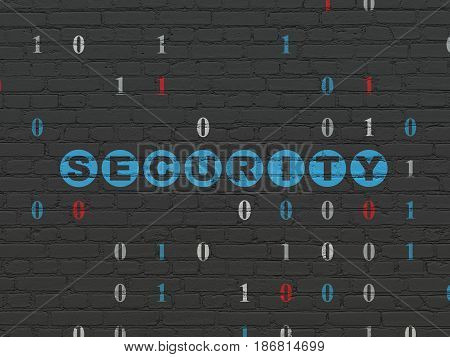 Safety concept: Painted blue text Security on Black Brick wall background with Binary Code