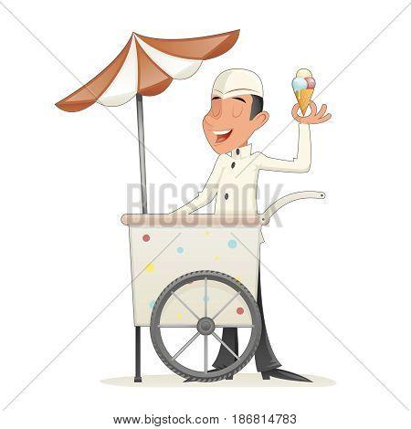 Smiling Ice Cream Seller with Cart Retro Vintage Cartoon Character Icon Isolated Retro Design Cartoon Vector Illustration
