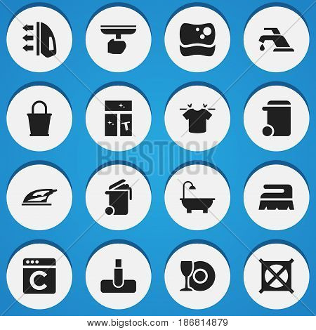 Set Of 16 Editable Dry-Cleaning Icons. Includes Symbols Such As Faucet, Container, Appliance And More. Can Be Used For Web, Mobile, UI And Infographic Design.