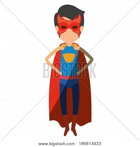 colorful silhouette with faceless superhero young flying with hands in your waist and shading vector illustration