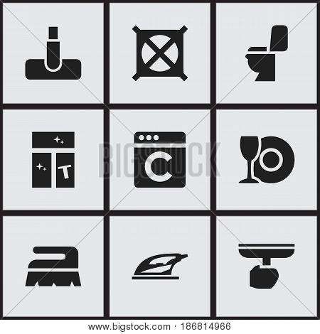 Set Of 9 Editable Dry-Cleaning Icons. Includes Symbols Such As Laundress, Hoover, Plate And More. Can Be Used For Web, Mobile, UI And Infographic Design.