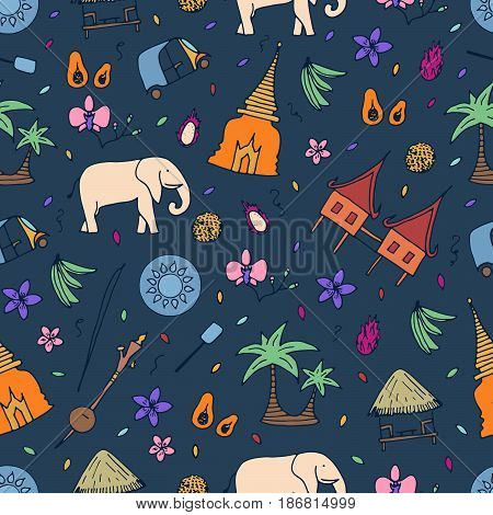 Culture Of Thailand Seamless Pattern. Hand Drawn Design Elements.