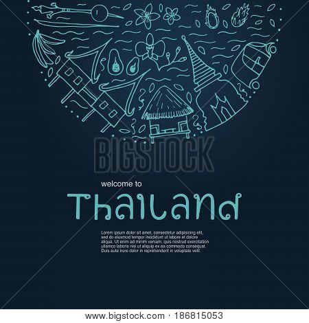 Welcome To Thailand Design Concept. Hand Symbols Of Thailand With Lettering.