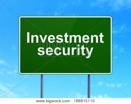 Safety concept: Investment Security on green road highway sign, clear blue sky background, 3D rendering