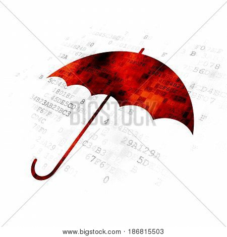 Safety concept: Pixelated red Umbrella icon on Digital background