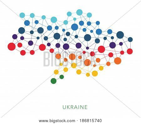 dotted texture Ukraine without Crimea vector background