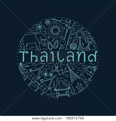Hand Drawn Design Concept With The Main Attractions Of Thailand.