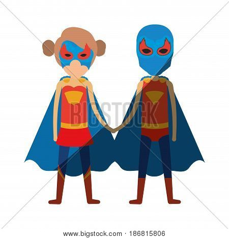 colorful silhouette with faceless duo of superheroes united of the hands and her with collected hair with shading vector illustration