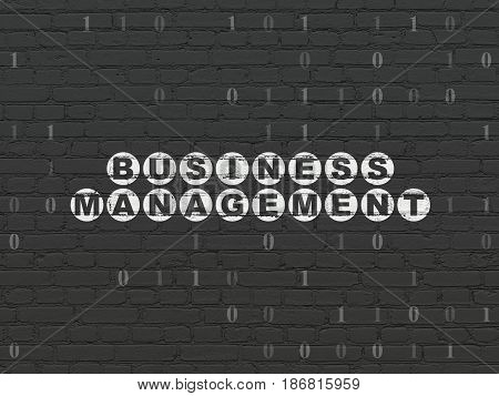 Business concept: Painted white text Business Management on Black Brick wall background with Binary Code