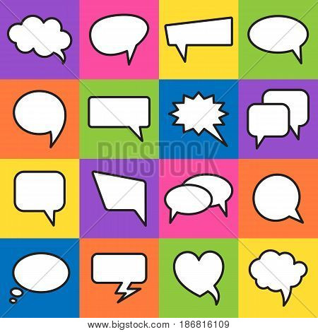 Vector speech bubbles in flat design. Communication bubbles icons. Dialog balloons for web and graphic design.