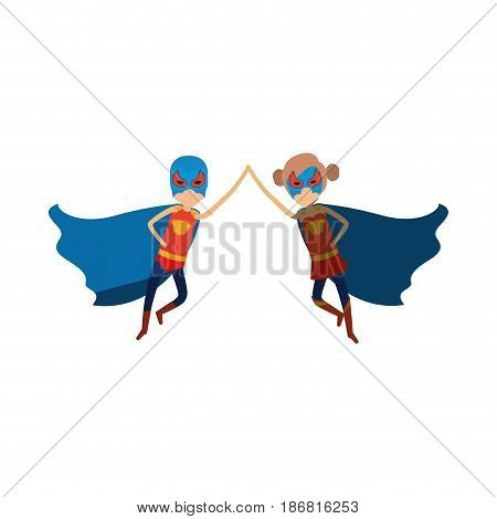 colorful silhouette with faceless duo of superheroes flying united of the hands and her with collected hair and shading vector illustration