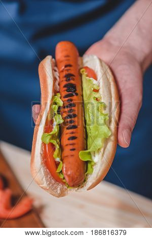Close-up Partial View Of Man Holding Hot Dog In Hand