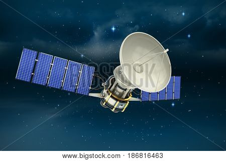 Vector image of 3d solar power satellite against stars twinkling in night sky