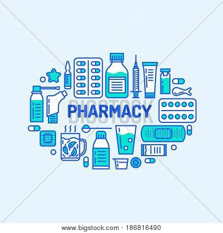 Medical, drugstore banner illustration. Pharmacy vector line icons tablet, capsules, pills, antibiotics vitamins and other medicines. Healthcare brochure, poster design.