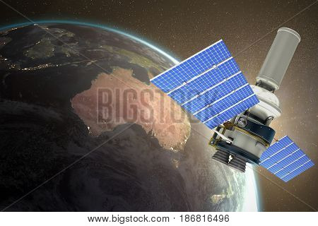 3d image of modern solar power satellite against white background against aerial view of the earth