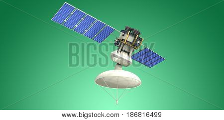 Low angle view of 3d solar satellite against green vignette