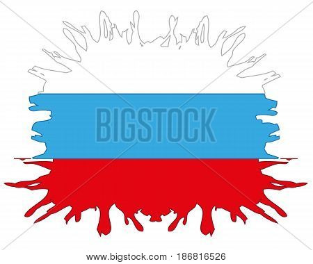 Flag to Russia in the manner of inkblots on white background