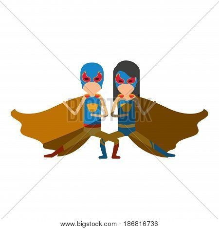 colorful silhouette with faceless duo of superheroes in defensive pose and her with straight long hair and shading vector illustration