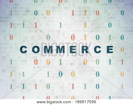 Finance concept: Painted blue text Commerce on Digital Data Paper background with Binary Code