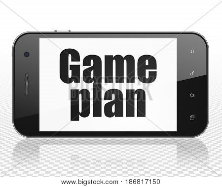 Finance concept: Smartphone with black text Game Plan on display, 3D rendering