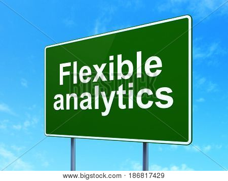 Business concept: Flexible Analytics on green road highway sign, clear blue sky background, 3D rendering