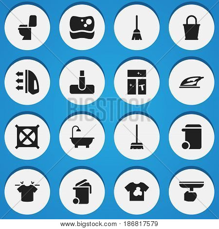 Set Of 16 Editable Cleaning Icons. Includes Symbols Such As Broomstick, Whisk, Hoover And More. Can Be Used For Web, Mobile, UI And Infographic Design.