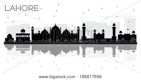 Lahore City skyline black and white silhouette with reflections.