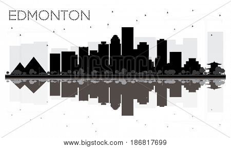 Edmonton City skyline black and white silhouette with reflections. Simple flat concept for tourism presentation, banner, placard or web site. Business travel concept.