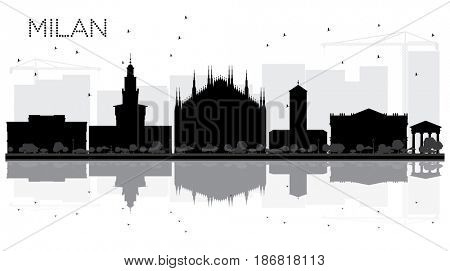Milan City skyline black and white silhouette with reflections. Simple flat concept for tourism presentation, banner, placard or web site. Cityscape with landmarks.