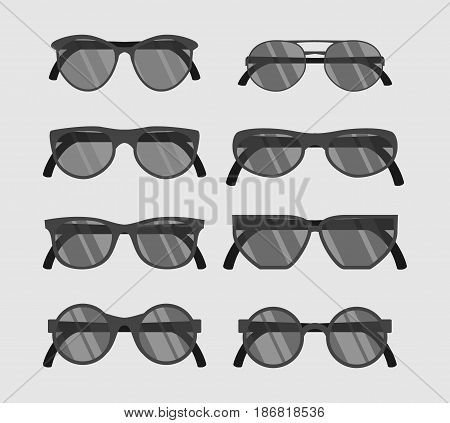 Set of hipster glasses flat elements. vector flat