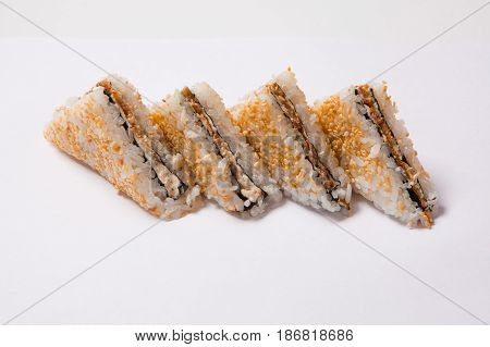 Onigiri With Dried Seaweed Nori Isolated On White Background