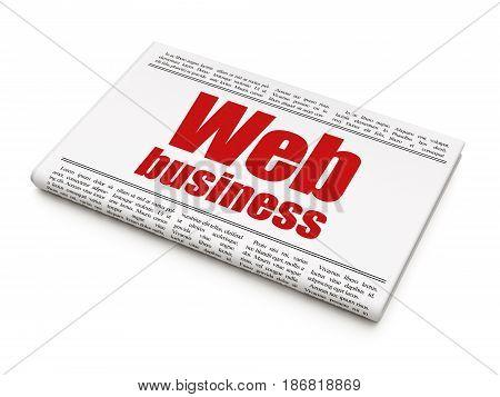 Web development concept: newspaper headline Web Business on White background, 3D rendering