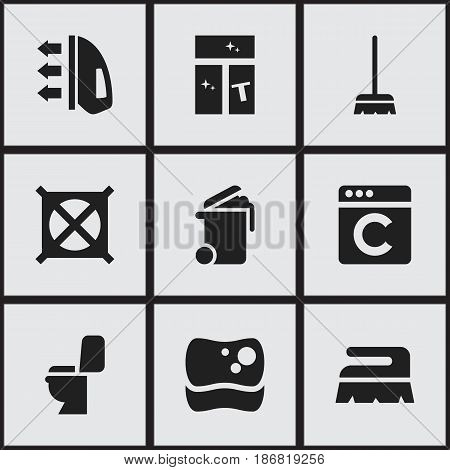 Set Of 9 Editable Cleanup Icons. Includes Symbols Such As Whisk, Laundress, Container And More. Can Be Used For Web, Mobile, UI And Infographic Design.