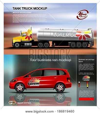 Digital vector red new modern business vehicle van and truck close up mockup, ready for print or magazine design. Your brand, motor show. Black background, reflection. Transparent, realistic 3d