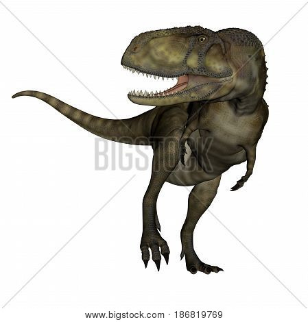 Abelosaurus dinosaur roaring isolated in white background - 3D render