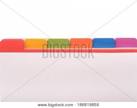 File folder with color tags and blank space