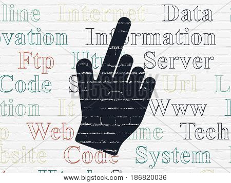 Web development concept: Painted black Mouse Cursor icon on White Brick wall background with  Tag Cloud