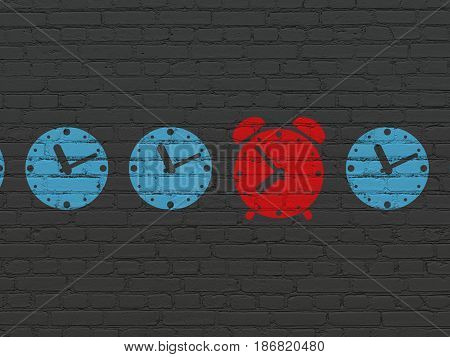 Time concept: row of Painted blue clock icons around red alarm clock icon on Black Brick wall background