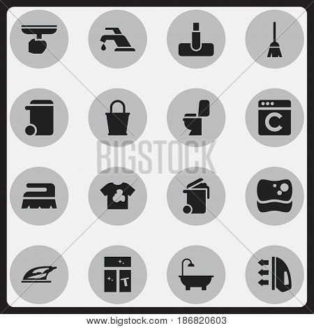 Set Of 16 Editable Cleanup Icons. Includes Symbols Such As Dustbin, Washing Tool, Laundress And More. Can Be Used For Web, Mobile, UI And Infographic Design.