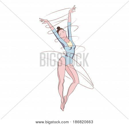 An elegant clasic dancer or ballerina in motion painted with soft pastel tones. Dancing classical girl dancing. Female student choreographer