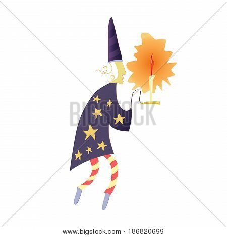 A stargazer or a wizard with a candlestick in a hood and a robe with stars. Artistic illustration for fairy tales. Kind fairy magical character