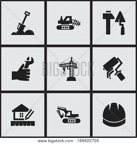 Set Of 9 Editable Construction Icons. Includes Symbols Such As Home Scheduling, Elevator, Hands. Can Be Used For Web, Mobile, UI And Infographic Design.